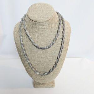 Anne Klein Long Twisted Silver Mesh Chain